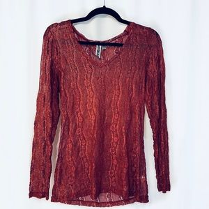 BKE Maroon Lace Long Sleeve Floral Top L